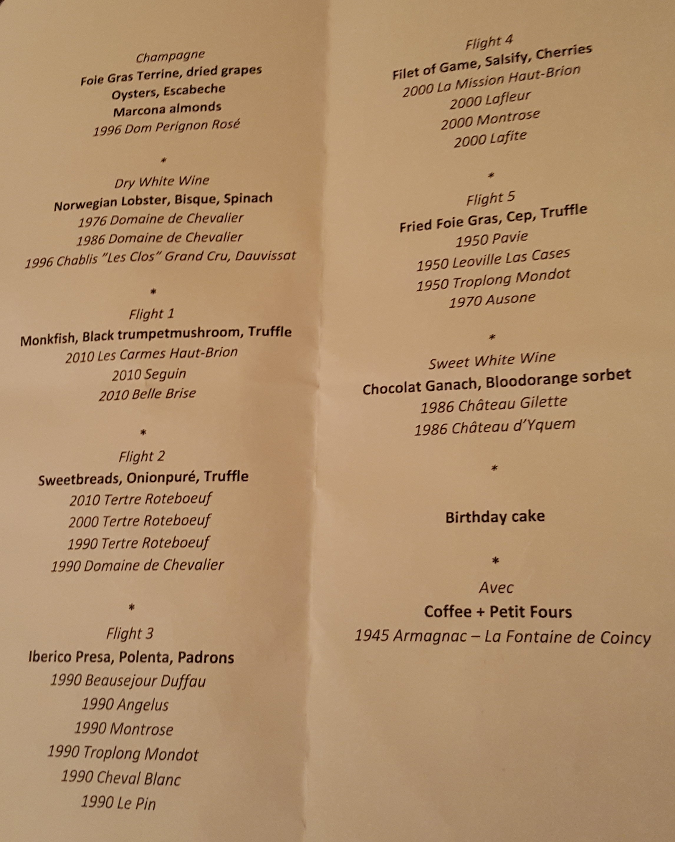Menu and wines for the evening 2